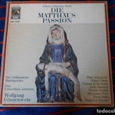 Discos de vinilo: DIE MATTHÄUS-PASSION. JOHANN SEBASTIAN BACH. EMI. CAJA CON 4 LP'S. 1240 GRAMOS.. Lote 95454419