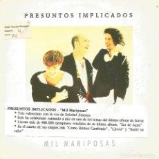 Discos de vinilo: PRESUNTOS IMPLICADOS-MIL MARIPOSAS SINGLE VINILO 1992 PROMOCIONAL SPAIN. Lote 289815928