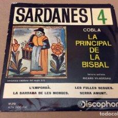 Discos de vinilo: SARDANES 4. LA PRINCIPAL DE LA BISBAL / L'EMPORDÀ /LES FULLES SEQUES / SERRA AMUNT. DISCOPHON 1961. Lote 95574035