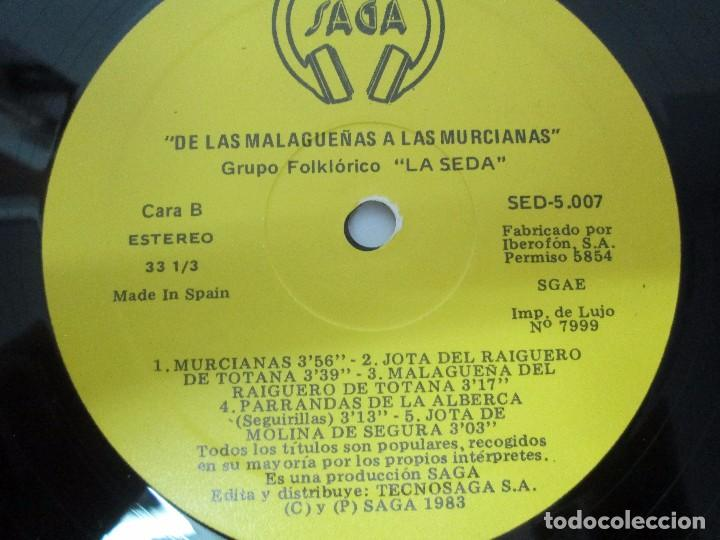 Discos de vinilo: GRUPO FOLKLORICO. LA SEDA. DE LAS MALAGUEÑAS A LAS MURCIANAS. LP VINILO. TECNOSAGA 1983. - Foto 6 - 95626483