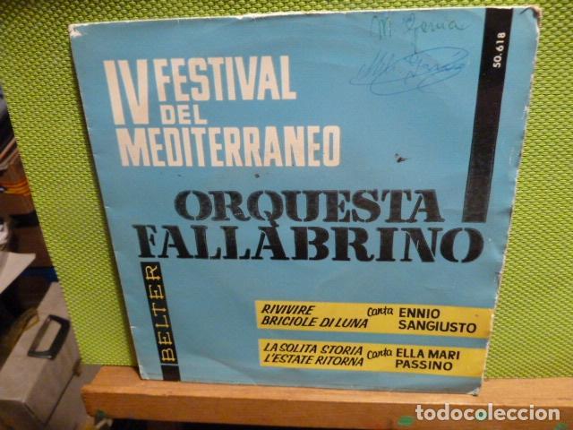 IV FESTIVAL DEL MEDITERRANEO ORQUESTA FALLABRINA -ENNIO SANGIUSTO -FIRMA (Música - Discos de Vinilo - EPs - Grupos y Solistas de latinoamérica)