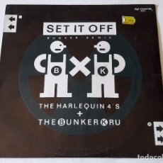 Discos de vinilo: HARLEQUIN 4'S / BUNKER KRU - SET IT OFF (BUNKER '88 MIX) - 1988. Lote 95746615