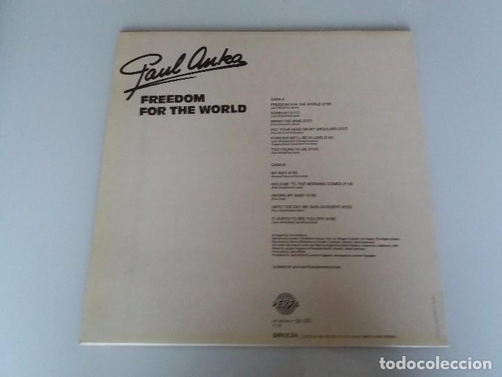 Discos de vinilo: PAUL ANKA, FREEDOM FOR THE WORLD (NUEVAS GRABACIONES) VINILO LP 1988 SPAIN PERFIL 33124 - Foto 2 - 95763879