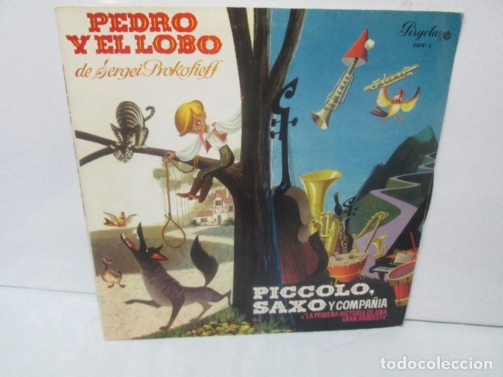 PEDRO Y EL LOBO. SERGEI PROKOFIEFF. PICCOLO, SAXO Y COMPAÑIA. JEAN BROUSSOLLE Y ANDRE POPP. (Música - Discos - Singles Vinilo - Música Infantil)