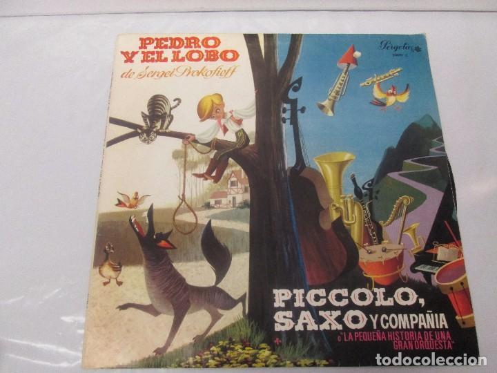 Discos de vinilo: PEDRO Y EL LOBO. SERGEI PROKOFIEFF. PICCOLO, SAXO Y COMPAÑIA. JEAN BROUSSOLLE Y ANDRE POPP. - Foto 2 - 95764791