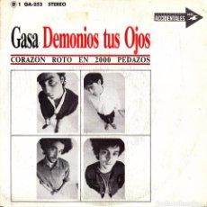 Discos de vinilo: SINGLE PROMO DEMONIOS TUS OJOS CORAZON ROTO EN 2000 PEDAZOS 45 SPAIN 1988 CORCOBADO. Lote 95829991