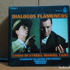 Discos de vinilo: CURRO DE UTRERA / MANUEL CANO - DIALOGOS FLAMENCOS - HISPAVOX HH 16-523 - 1965. Lote 95881607