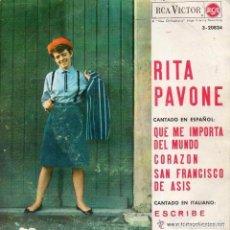 Discos de vinilo: RITA PAVONE CANTA EN ESPAÑOL, QUE ME IMPORTA DEL MUNDO - EP SPAIN 1964. Lote 95893575