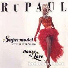 Discos de vinilo: RU PAUL – SUPERMODEL (YOU BETTER WORK) / HOUSE OF LOVE - MAXI-SINGLE BLANCO Y NEGRO SPAIN 1993. Lote 95940239