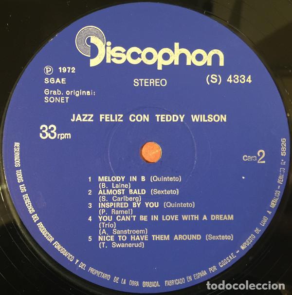 Discos de vinilo: TEDDY WILSON * LP * JAZZ FELIZ CON TEDDY WILSON * DISCOPHON * 1972 - Foto 3 - 26334431