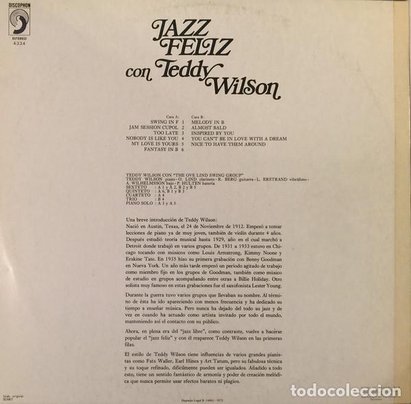 Discos de vinilo: TEDDY WILSON * LP * JAZZ FELIZ CON TEDDY WILSON * DISCOPHON * 1972 - Foto 4 - 26334431