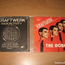 Discos de vinilo: 2 SINGLES KRAFTWERK ROBOTS + RADIOACTIVITY. Lote 96099223