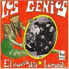 Discos de vinilo: SINGLE LOS GENIOS EL NUEVO DIA / LOCURA 45 SPANISH RARE CEM 1969 SOUL MOD. Lote 96100583