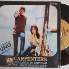 Discos de vinilo: CARPENTERS-SINGLE ACABAMOS DE EMPEZAR. Lote 96336967