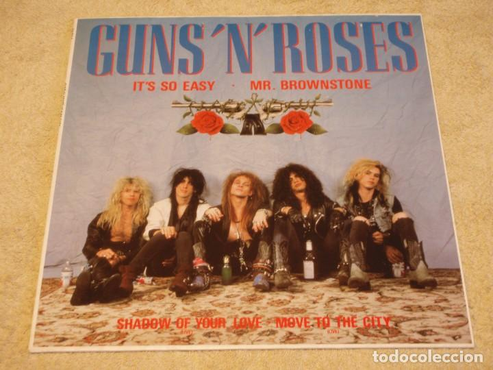 GUNS 'N' ROSES ( IT'S SO EASY - MR. BROWNSTONE - SHADOW OF YOUR LOVE - MOVE TO THE CITY ) 1987-GE (Música - Discos de Vinilo - Maxi Singles - Heavy - Metal)