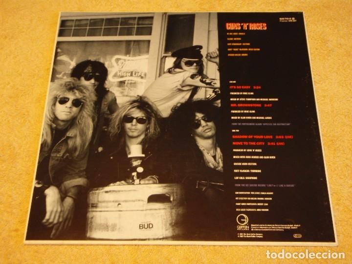 Discos de vinilo: GUNS N ROSES ( ITS SO EASY - MR. BROWNSTONE - SHADOW OF YOUR LOVE - MOVE TO THE CITY ) 1987-GE - Foto 2 - 96431223