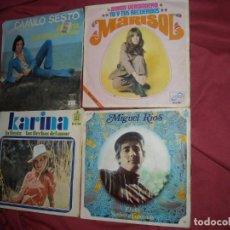 Discos de vinilo: CAMILO SESTO-KARINA-MARISOL-MIGUEL RIOS LOTE 4 SINGLES VER FOTOS. Lote 96451151