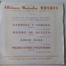 """Discos de vinilo: EDICIONES MUSICALES MUNDIN ORQUESTA """"LOS TROVADORES"""". Lote 96586334"""