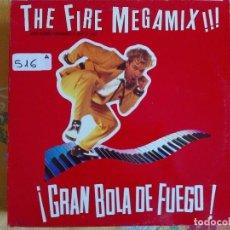 Discos de vinilo: MAXI - GRAN BOLA DE FUEGO-THE FIRE MEGAMIX (JERRY LEE LEWIS) (PROMO ESPAÑOL, POLYDOR 1989). Lote 96612243