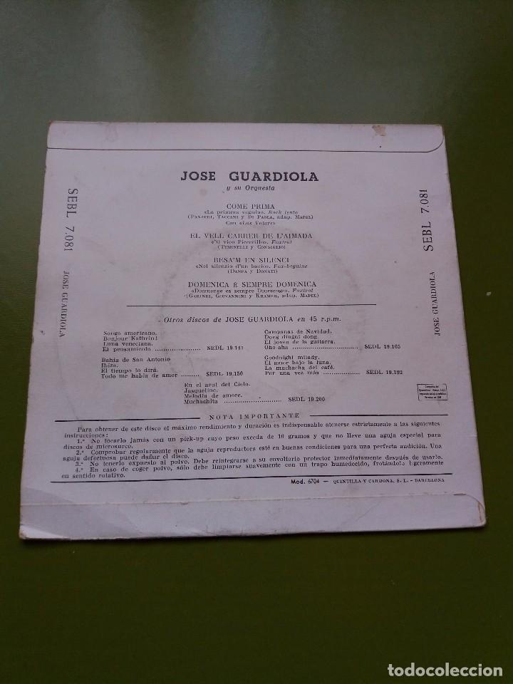 Discos de vinilo: EP ** JOSE GUARDIOLA ** COME PRIMA ** COVER / VERY GOOD +(VG+) ** EP / VERY GOOD + (VG+)** 1958 - Foto 2 - 96775267