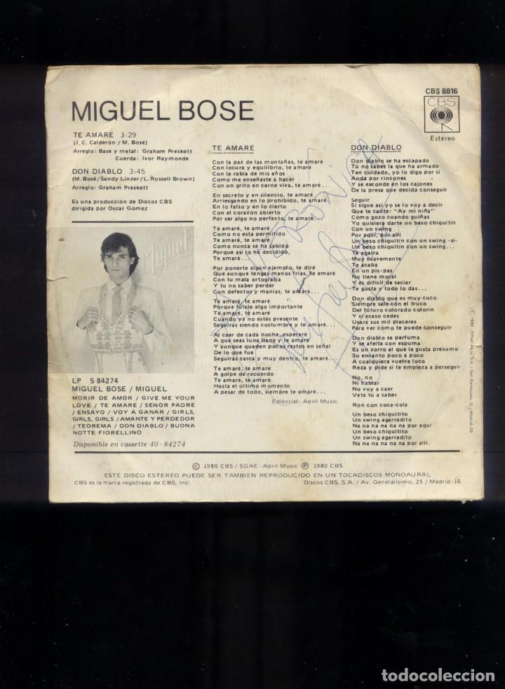 MIGUEL BOSÉ SINGLE FIRMADO (Música - Discos - Singles Vinilo - Grupos Españoles de los 70 y 80)
