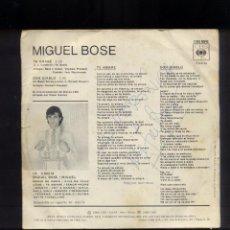 Discos de vinilo: MIGUEL BOSÉ SINGLE FIRMADO. Lote 96821027