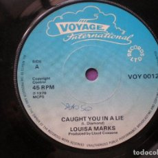 Discos de vinilo: LOUISA MARKS / CLINTON GRANT - CAUGHT YOU IN A LIE +1 - SG UK VOYAGE INT 1979 // LOVERS ROCK REGGAE. Lote 96935863