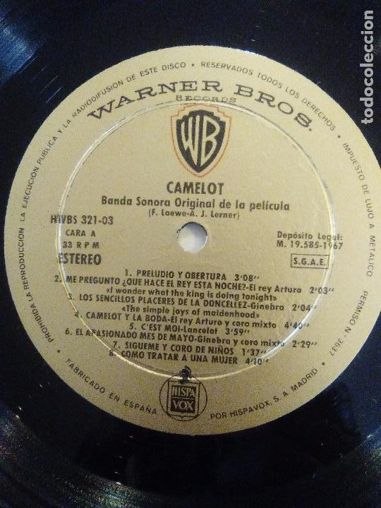 Discos de vinilo: CAMELOT ( 1967 WARNER HISPAVOX ESPAÑA ) JOSHUA LOGAN FREDERICK LOEWE RICHARD HARRIS VANESSA REDGRAVE - Foto 4 - 96943267