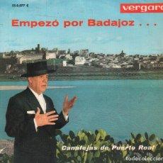 Discos de vinilo: CANALEJAS DE PUERTO REAL - EMPEZO POR BADAJOZ / SAETAS EN SEMANA SANTA EP VERGARA RF-3133. Lote 129584902