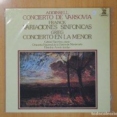 Discos de vinilo: ADDINSELL / FRANCK / GRIEG - CONCIERTO VARSOVIA / VARIACIONES SINFONICAS / CONCIERTO LA MENOR - LP. Lote 97069226
