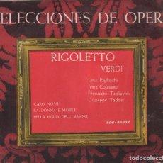 Dischi in vinile: SELECCIONES DE OPERA - RIGOLETTO VERDI / SINGLE SAEF RF-3153, BUEN ESTADO. Lote 97118095