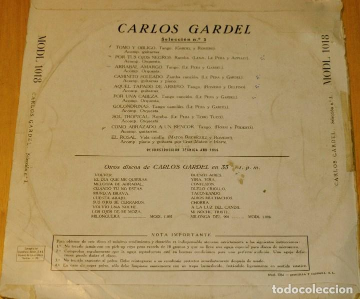Discos de vinilo: CARLOS GARDEL. ODEON 1956. RARO - Foto 2 - 97206579