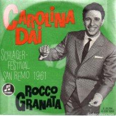 Discos de vinilo: VESIV SINGLE ROCCO GRANATA CAROLINA DAI SCHLAGER FESTIVAL SAN REMO 61. Lote 97230071