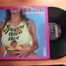 Discos de vinilo: BON JOVI YOU GIVE LOVE A BD NAME + 2 MAXI SPAIN 1987 PDELUXE. Lote 97385787