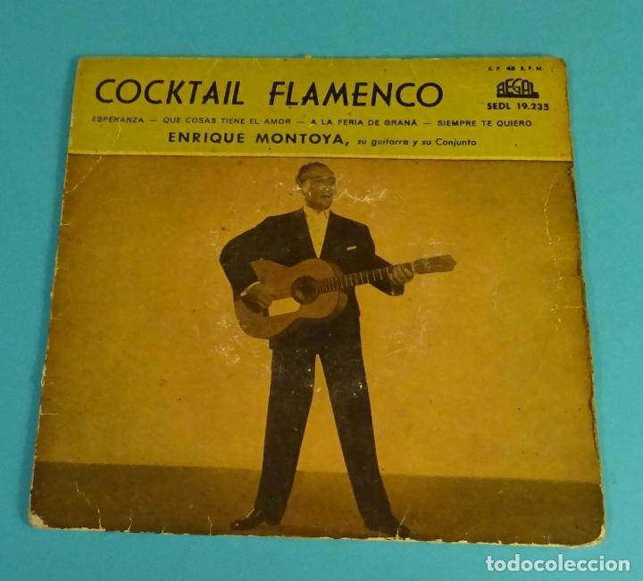 Discos de vinilo: ENRIQUE MONTOYA, SU GUITARRA Y SU CONJUNTO. COCKTAIL FLAMENCO. VINILO AZUL - Foto 2 - 97504823