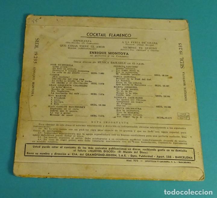Discos de vinilo: ENRIQUE MONTOYA, SU GUITARRA Y SU CONJUNTO. COCKTAIL FLAMENCO. VINILO AZUL - Foto 3 - 97504823