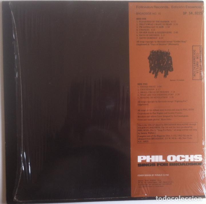 Discos de vinilo: Sings for Broadside - Phil Ochs - LP Folkways/Dial 1983 Edición española - Foto 2 - 97538275