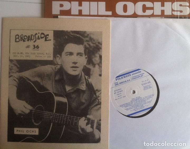 Discos de vinilo: Sings for Broadside - Phil Ochs - LP Folkways/Dial 1983 Edición española - Foto 3 - 97538275