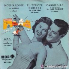 Discos de vinilo: MÚSICA DE PELICULAS: MOULIN ROUGE, EL TERCER HOMBRE, CANDILEJAS - DECCA BEP 6126. Lote 288406598