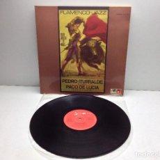 Discos de vinilo: PEDRO ITURRALDE QUINTET CON PACO DE LUCIA - FLAMENCO -JAZZ LP MPS- BASF DE 1974 -- MUY RARO. Lote 97566763