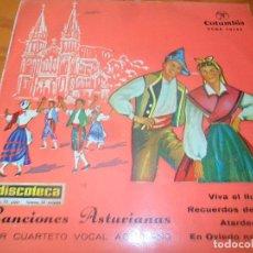 Discos de vinilo: CANCIONES ASTURIANAS - VIVA EL LLUGAR/ EN OVIEDO NO ME CASO/ +2 - EP 1963. Lote 97610455