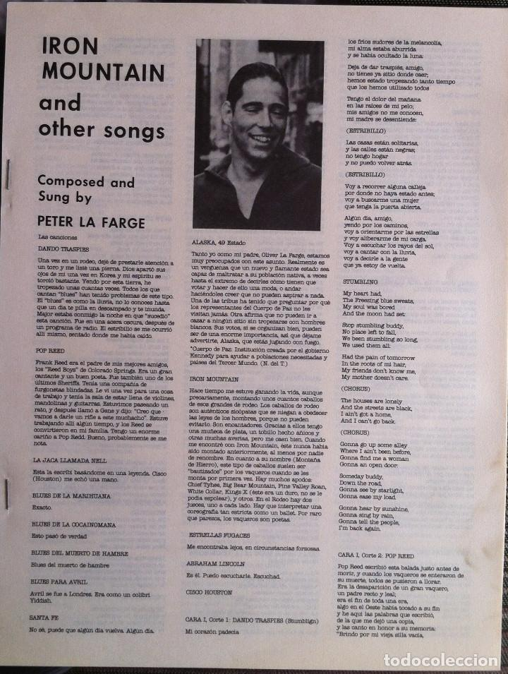 Discos de vinilo: Peter La Farge - Iron mountain and other songs - LP Folkways/Dial 1983 Edición española - Foto 5 - 97647839