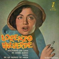 Discos de vinilo: LORENZO VALVERDE, EP, NOCTURNO SIN LUNA + 3, AÑO 1961. Lote 97670695