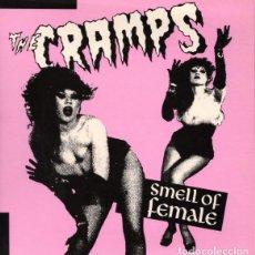 Discos de vinilo: THE CRAMPS: SMELL OF FEMALE, PACK DE 4 SINGLES EN VINILO DE COLOR. Lote 97670835