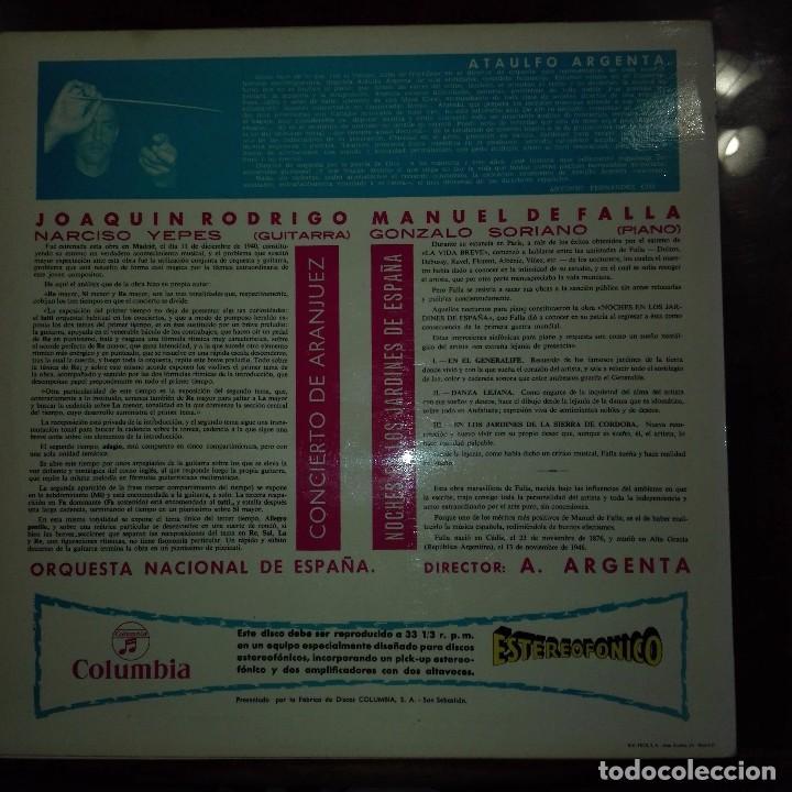 Discos de vinilo: CONCIERTO DE ARANJUEZ-NOCHE EN LOS JARDINES DE ESPAÑA - Foto 2 - 97689667