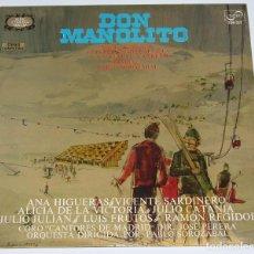 Discos de vinilo: DON MANOLITO - SAINETE MADRILEÑO DE LUIS FERNANDEZ SEVILLA Y ANSELMO CARREÑO.PABLO SOROZABAL.1973. Lote 97692599