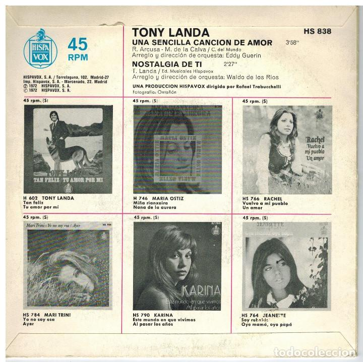 Discos de vinilo: SINGLE -TONI LANDA - UNA SENCILLA CANCION DE AMOR. - Foto 2 - 97720287