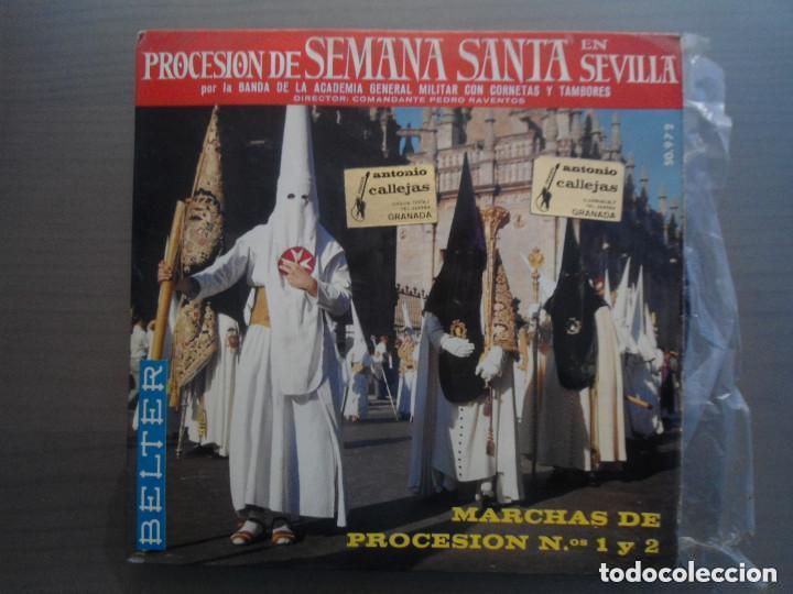 ANTIGUO EP PROCESION DE SEMANA SANTA EN SEVILLA - BANDA ACADEMIA GENERAL MILITAR CORNETAS TAMBORES (Música - Discos de Vinilo - EPs - Clásica, Ópera, Zarzuela y Marchas)