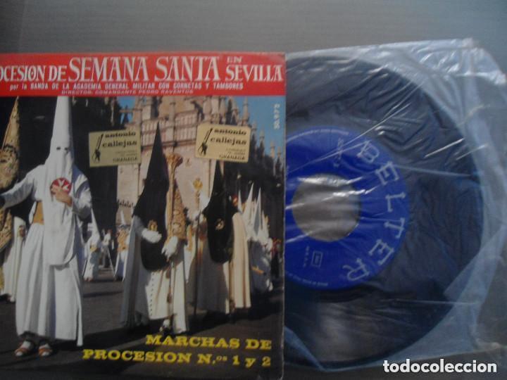 Discos de vinilo: ANTIGUO EP PROCESION DE SEMANA SANTA EN SEVILLA - BANDA ACADEMIA GENERAL MILITAR CORNETAS TAMBORES - Foto 3 - 97732335