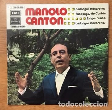 MANOLO CANTÓN - FANDANGOS MACARENOS - 1972 (Música - Discos de Vinilo - EPs - Flamenco, Canción española y Cuplé)